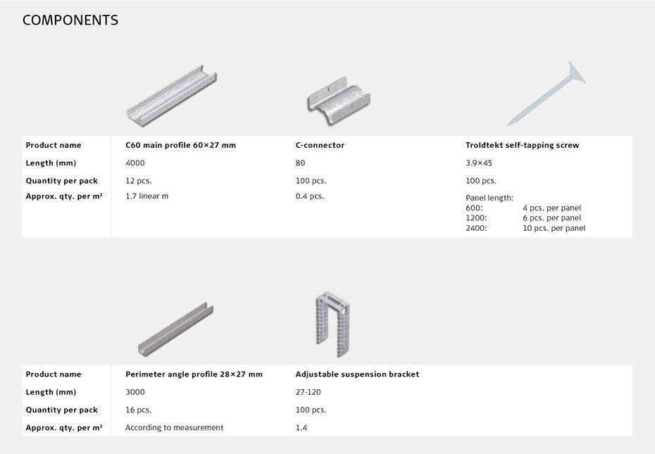Troldtekt C60 profile system with adjustable suspension brackets